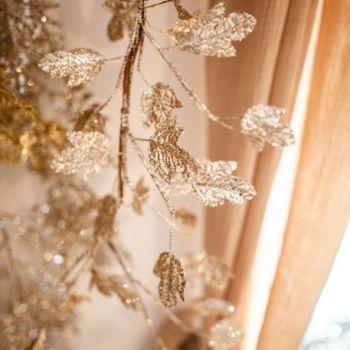 Guirlande feuilles d'érable champagne sequins pailleté 150cm