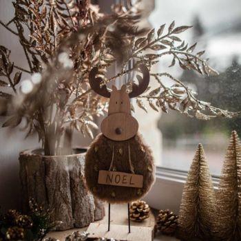 Renne en bois fourrure Noël 25cm