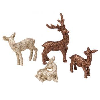 4 figurines pailleté cerf biche et faon