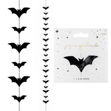 Guirlande de chauve souris noire pour réaliser une belle décoration d'Halloween !Dimensions: 150cm
