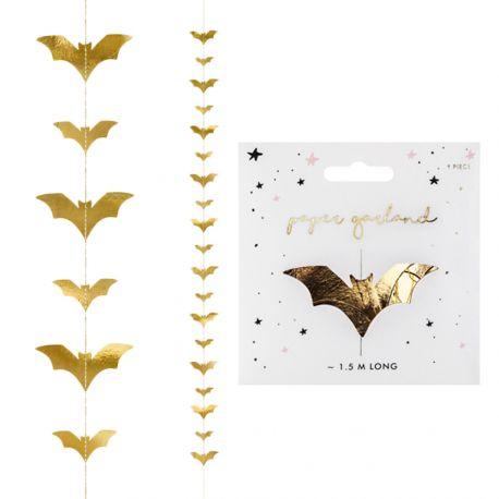 Guirlande de chauve souris or pour réaliser une belle décoration d'Halloween !Dimensions: 150cm