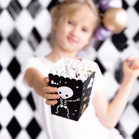 6 Boites Pop Corn en carton décor Halloween Boo !Dimensions: 7 x 7x 12.5cm