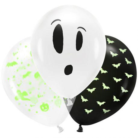 3 Ballons latex Halloween phosphorescent dans le noir pour une belle décoration d'Halloween tendance !Dimensions : Ø27cm