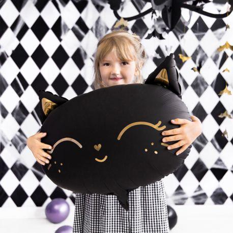 Ballons en aluminium en forme de chat noir tout mignon pour une superbe décoration de fête d'Halloween doucePeut être gonflé avec ou...