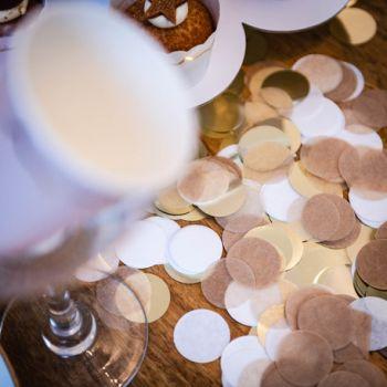 Confettis papier kraft blanc et or
