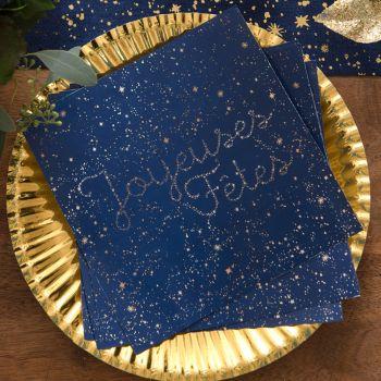 20 serviettes voie lactée Joyeuses fêtes bleu