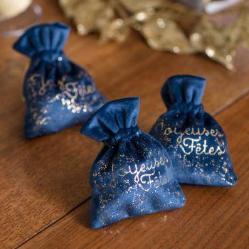 2 Pochons voie lactée Joyeuses fêtes bleu