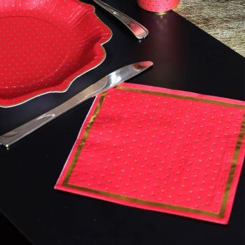 20 serviettes rouge pois or