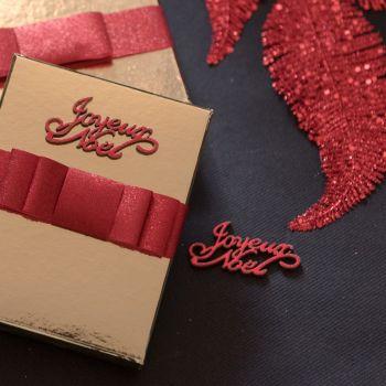 10 Décors en bois Joyeux Noël pailleté rouge