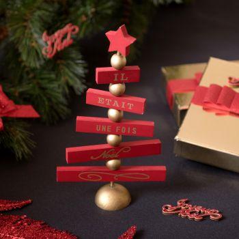 Décor en bois sapin de Noël rouge