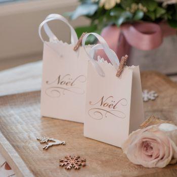 6 Mini sacs cadeaux Noël blanc