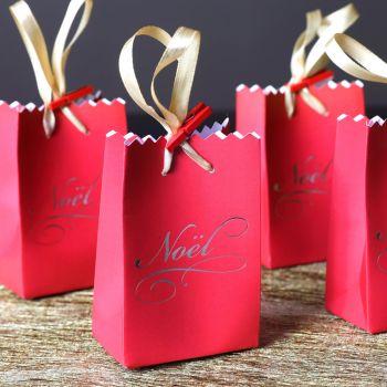 6 Mini sacs cadeaux Noël rouge