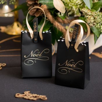 6 Mini sacs cadeaux Noël noir