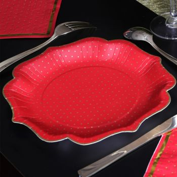 10 assiettes rouge pois or