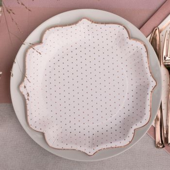 10 assiettes blancs pois gold rose