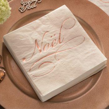 20 serviettes blanche Noël gold rose