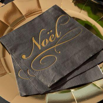 20 serviettes noire Noël or