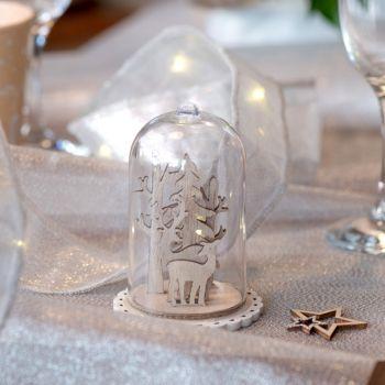 Décor de table cerf sous verre
