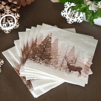 20 Serviettes forêt d'hiver naturel