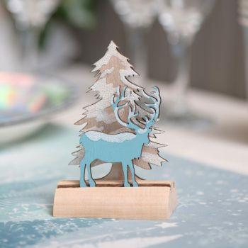 Décor à poser cerf d'hiver bleu glacier