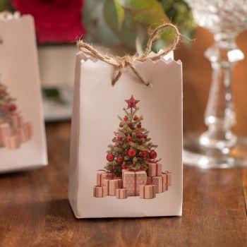 6 Mini sacs Noël tradition rouge