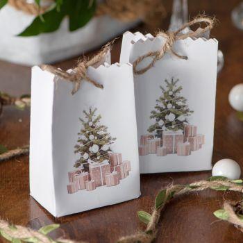 6 Mini sacs Noël tradition blanc