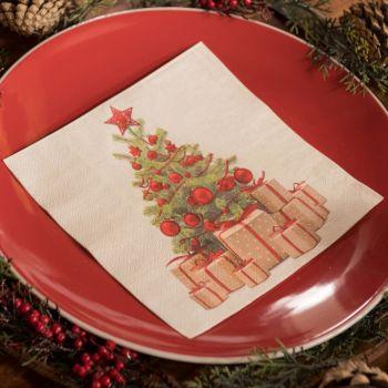 20 serviettes Noël tradition rouge