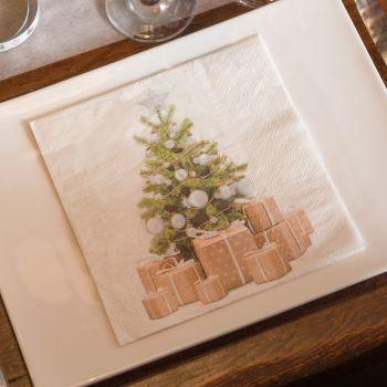 20 serviettes Noël tradition blanc