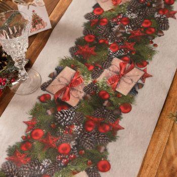 Chemin de table Noël tradition rouge