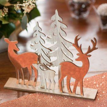 Décor forêt de Noël gold rose 20cm