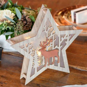 Décor forêt étoile lumineuse gold rose 27cm