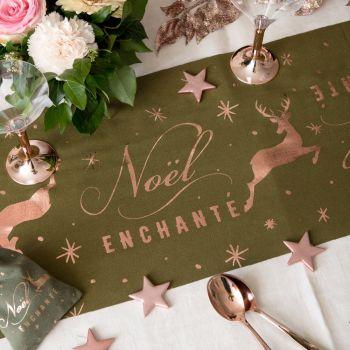 Chemin de table Noël enchanté kaki