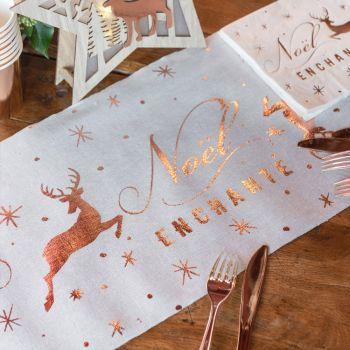 Chemin de table Noël enchanté gold rose
