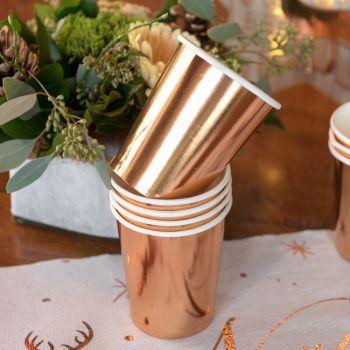 10 Gobelets cartons gold rose métallisés