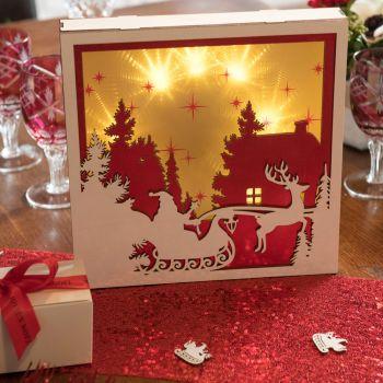 Tableau lumineux Noël rouge