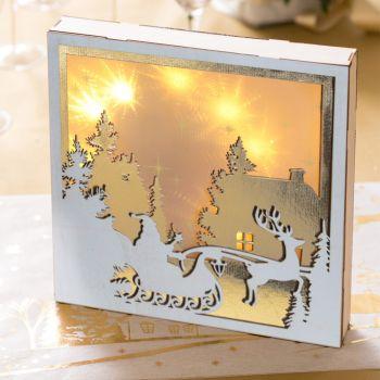 Tableau lumineux Noël blanc