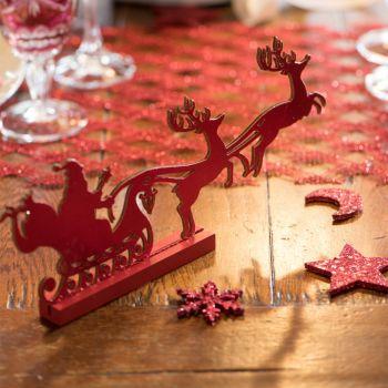 Traîneau de Noël en bois rouge