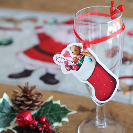 6 marques place avec rubans en forme de botte de Père Noël pour une belle décoration de table de NoëlDimensions : 4.5cm x 8cm