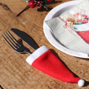 2 pochons à couverts bonnets Père Noël