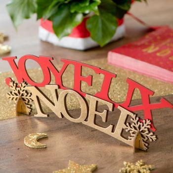 Joyeux Noël en bois à poser rouge et or