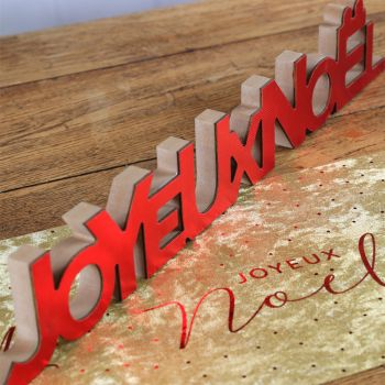 Joyeux Noël en bois à poser rouge