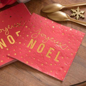 20 serviettes Joyeux Noël rouge et or