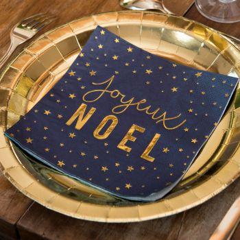20 serviettes Joyeux Noël marine et or