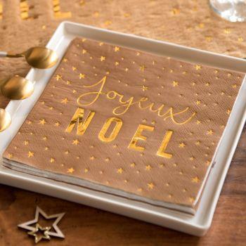 20 serviettes Joyeux Noël kraft et or