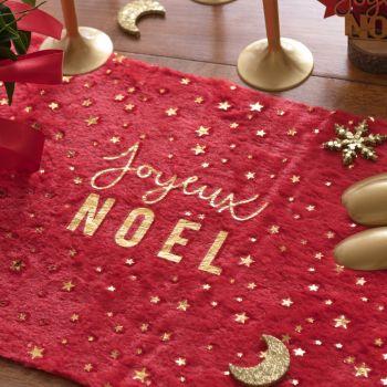 Chemin de table fourrure Joyeux Noël rouge et or