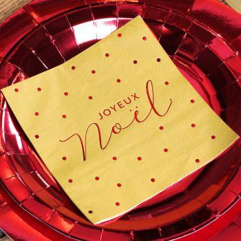 20 serviettes Joyeux Noël pois or et rouge