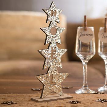 Décor sapin étoiles Noël gold rose pailleté
