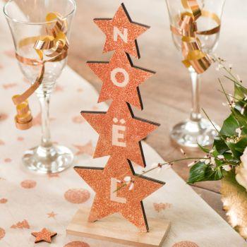 Décor sapin étoiles Noël or pailleté