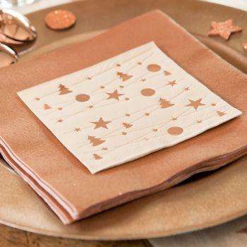 20 petites serviettes ivoire guirlande Noël gold rose