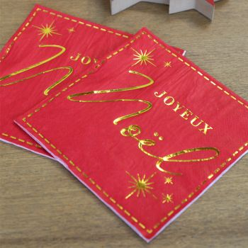 20 serviettes Joyeux Noël couture rouge